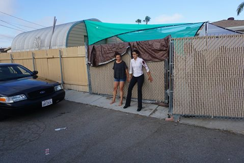 Henrietta Hill and Emily Burk holding the fence - Good laughs here!