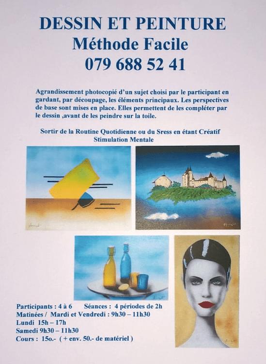 Affiche de cours de peinture donnés par JGA